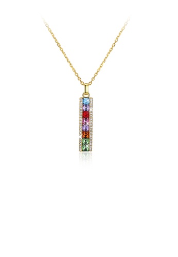 Glamorousky multi 925 Sterling Silver Gold Plated Simple Elegant Fashion Rectangle Pendant Necklace with Austrian Element Crystal A56F9ACA60472DGS_1