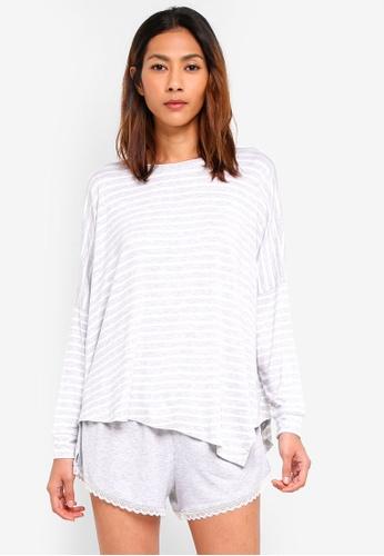 Cotton On Body grey Sleep Recovery Asymmetrical Long Sleeve Top 24228AA472FAFFGS_1