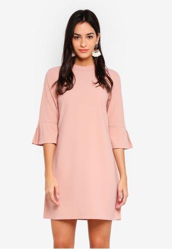ZALORA pink Flare Sleeves Dress CDD4DAA7D5F3EDGS_1