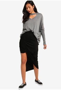 70a2cd6f09f96 ZALORA BASICS Basic Asymmetric Ruched Skirt RM 55.00. Sizes XS S M L XL