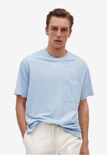 MANGO Man blue Flowy Pocket T-Shirt 0C22AAA238B32FGS_1