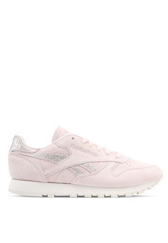 Reebok pink and silver Classic Leather Shimmer Sneakers RE691SH0SW0YMY_1