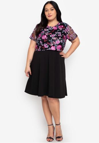 RUESALIDOU multi Plus Size Dorothy Lace Top Dress F2954AA93EDFA9GS_1