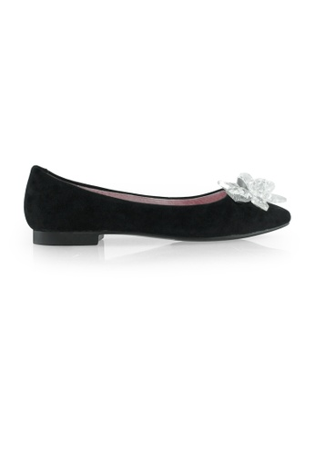 Gripz black Iceberg Suede Pointed Toe Flats 4A191SHCEA164BGS_1
