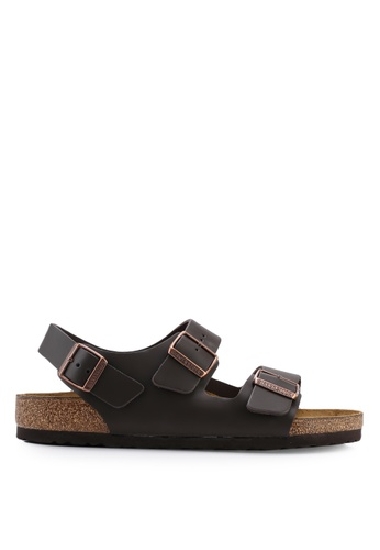 Birkenstock brown Milano Smooth Leather Sandals D8E42SH97E28FAGS_1