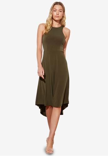 Trendyol green Halter Neck Midi Swing Dress 47CEFAAE799AC7GS_1