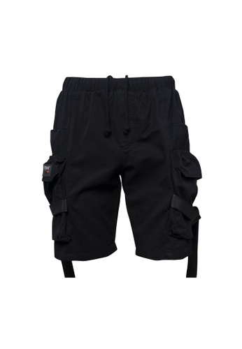 Todak black Cargo Double Strap Shorts E3108AA4FDC156GS_1