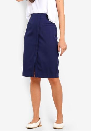 ZALORA navy Centre Split Hem Skirt DEDCFAAD9D784AGS_1
