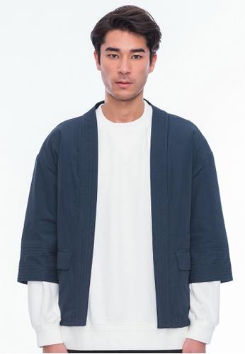 Alpha Style navy Sanjuro Kimono Jacket AL461AA0GMCHSG_1