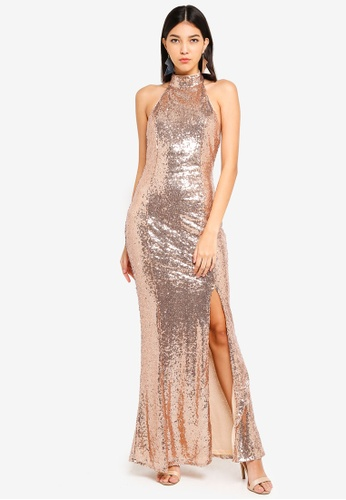 MISSGUIDED gold Sequin Choker Maxi Dress 2BF9AAA8E0C423GS_1