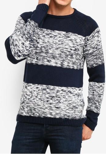 !Solid navy Raoul Melange Block Knit Sweater 1BA54AAF1AB282GS_1