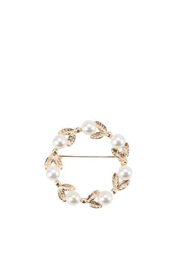 金葉珍珠胸針, 飾esprit 衣服品配件, 首飾
