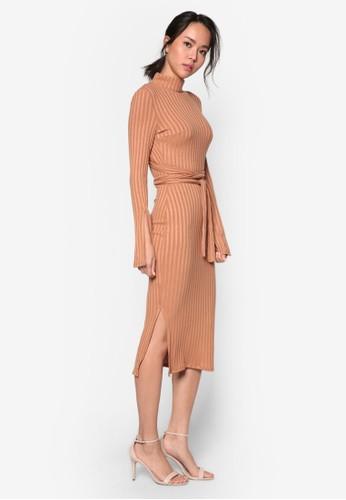 羅紋針織挖背京站 esprit繫帶長袖連身裙, 服飾, 服飾