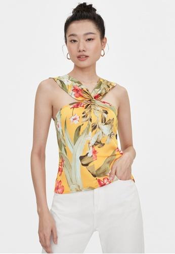 Pomelo yellow Twisted Tropical Print Halter Neck Top - Yellow 9E9E7AA449115DGS_1