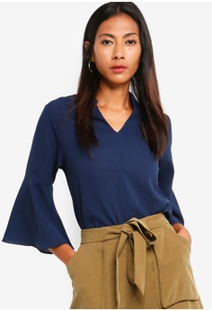 b500f13566eb6 ZALORA BASICS navy Basic Fluted Sleeves V-Neck Top 34ED5AA6B27724GS 1