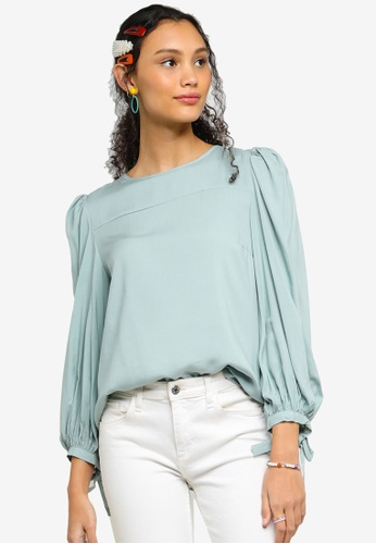 Lubna green Ribbon Sleeves Top Made From TENCEL BE580AA82D3788GS_1