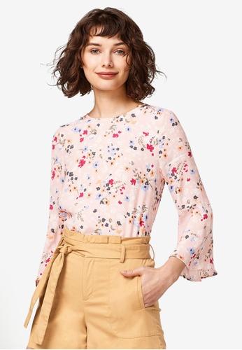 ESPRIT pink 3/4 Woven Sleeve Blouse 05236AA260EC6BGS_1
