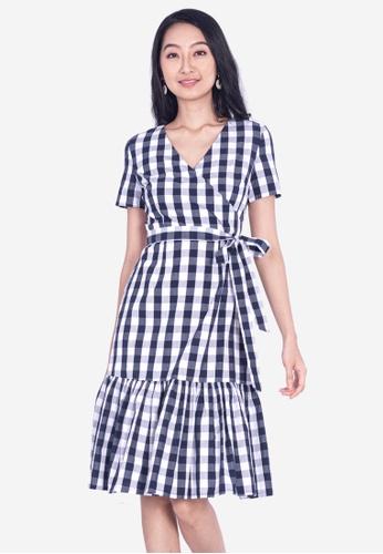 Plain B. white Plain B. Tartan Casual Midi Dress With Short Sleeve E6980AA56B2D48GS_1
