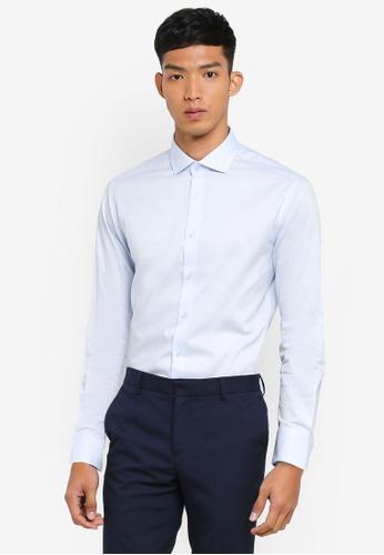 G2000 blue Dot Textured Long Sleeve Shirt BCCBBAA3410ABEGS_1
