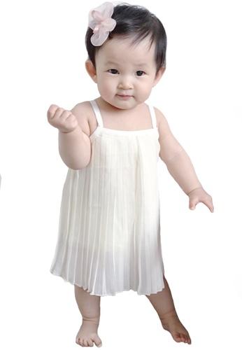 Kiddies Crew white and beige Flutter Pleated Ruffle Hem Girls Baby Kids Sleeveless Spaghetti Strap A Shaped Dress/ Skirt (Cream) 9D8FCKA9282AD8GS_1