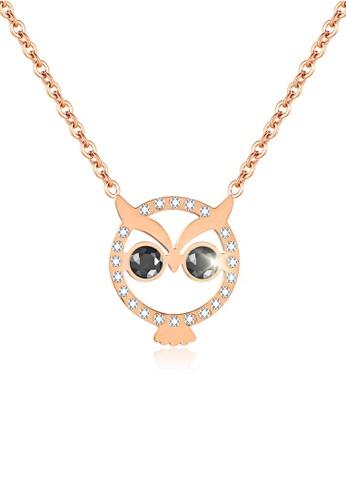 CELOVIS gold CELOVIS - Twilight Owl Pendant Necklace in Rose Gold D3474ACA29AC40GS_1