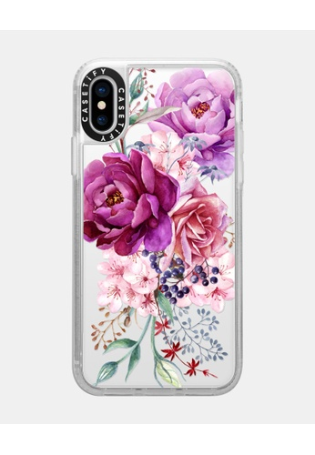 Casetify white and multi Purple Peony Watercolour Classic Grip Case for iPhone XS - Frost 2229AAC2EC4916GS_1