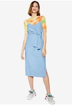 000f1df34031 TOPSHOP blue Tie Front Denim Midi Dress 935F1AA563005CGS_1