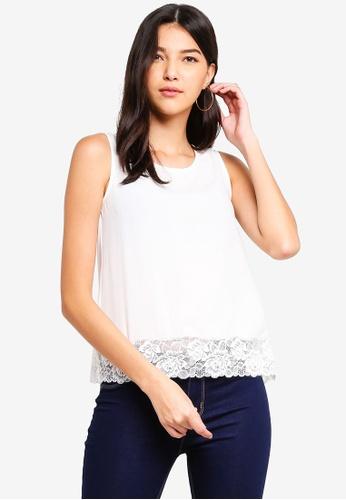 ZALORA white Lace Layer Sleeveless Top 4A71FAAF6B748AGS_1