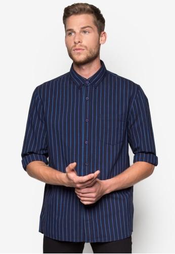 Navy/ Blue Stripe Long Sleeve Casual esprit outlet 台灣Shirt, 服飾, 印花襯衫