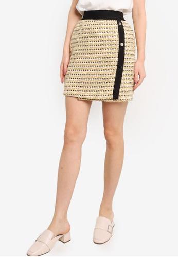 ZALORA WORK yellow and multi Tweed Mini Skirt 24E38AAF4EBD7EGS_1