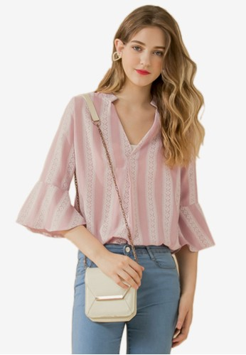 Eyescream pink and multi Printed Fluted Sleeves Blouse 101E4AA93F537BGS_1