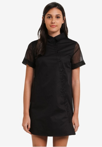 Something Borrowed black Sheer Panel Tilted Shirt Dress 92FBFAADCBB5B4GS_1