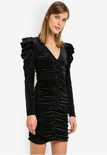 Miss Selfridge black Glitter Ruched Velvet Bodycon Dress MI665AA0SLEDMY_1