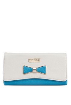 Saffiano Colour-Blocked Tri-Fold Long Ladies Wallet With Metal Ribbon