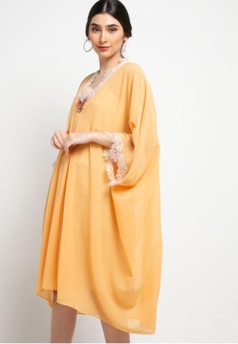 Luire by Raden Sirait orange Fm Dress V Cetar Midi Cx 1436DAA8EF9094GS_1