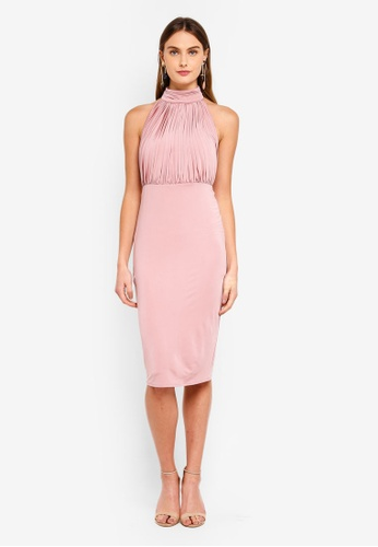 Goddiva pink Halter Neck Bodycon Midi Dress 79477AAE26F378GS_1