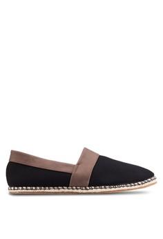 【ZALORA】 混合材質拼接懶人鞋