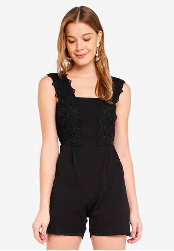 Dorothy Perkins black Lace Trim Playsuit E49D0AA822EC43GS_1