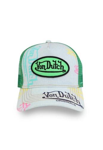 Von Dutch green and blue Von Dutch Denim Green Logo Trucker Cap 72462AC7DE5178GS_1