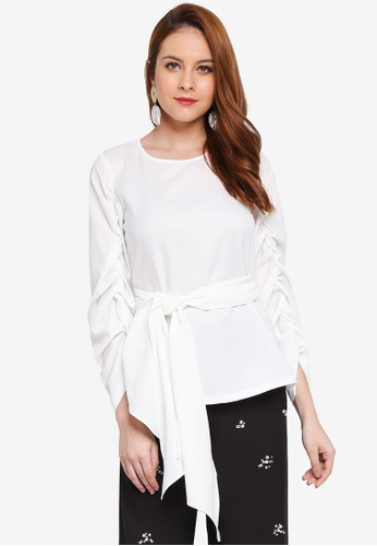 Lubna white Gathered Sleeve Front Tied Top C5656AA57D2F51GS_1