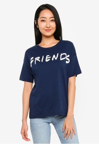 UniqTee navy Friends T-Shirt in Navy 363D0AAF675B1FGS_1