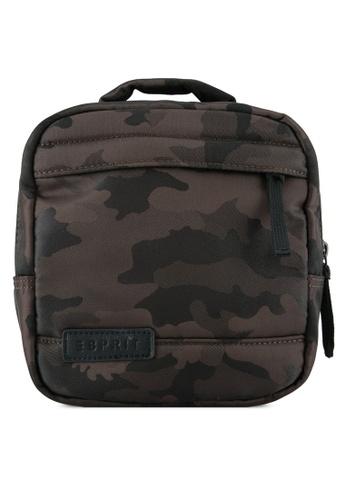 Esprit brown Camo Print Shoulder Bag ES374AC0SY0WMY_1