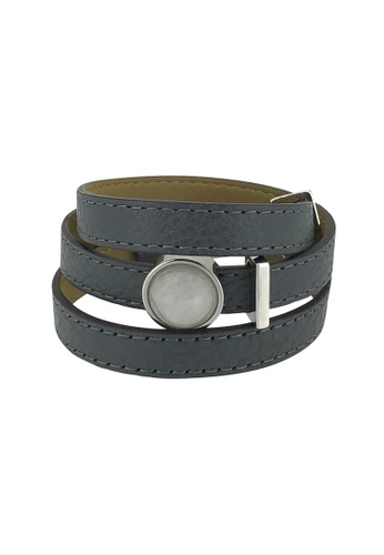Jemocracy grey and silver and beige JEMOCRACY - Everything's Under Ctrl - wrap leather bracelet (charcoal grey) 5B58EAC253F442GS_1