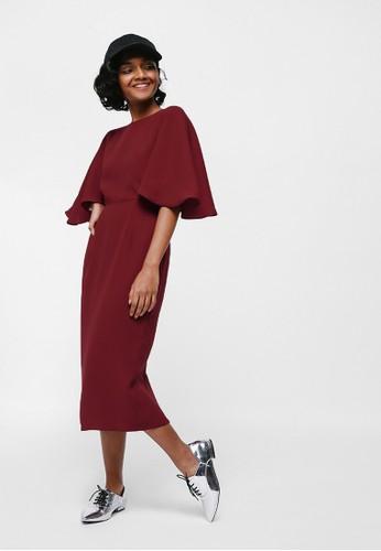 Love, Bonito red Merenia Cape Sleeve Midi Dress E1908AA61BA629GS_1