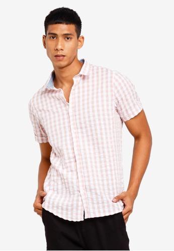 Brave Soul 粉紅色 格紋短袖襯衫 0BCDCAAB53118CGS_1
