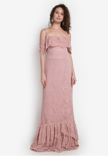 8aba1b194cc Fatima Beltran Clothing Line pink Cold Shoulder Lace Long Gown  FA618AA0KHMZPH 1