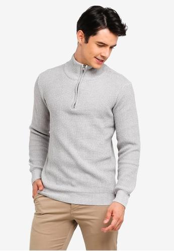 Indicode Jeans 灰色 高領格紋針織毛衣 BDD12AAE1EEC90GS_1