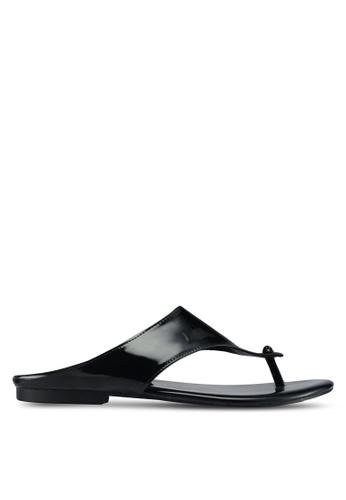 Rizalman for Zalora black Candra Men Patent Sandals RI909SH0SF0NMY_1