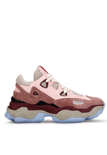 Twenty Eight Shoes 粉紅色 真皮厚底弧線形運動鞋B48 A304DSH7BA971CGS_1
