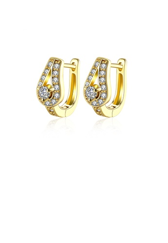 Glamorousky white Elegant Noble Plated Gold Water Drop-shaped Cubic Zircon Earrings 69841ACA8383E4GS_1